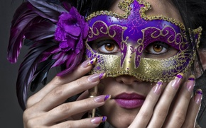 Picture girl, feathers, mask, nails, manicure