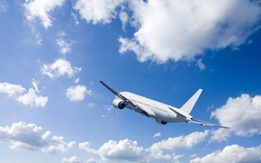 Picture the sky, clouds, flight, the plane, blue, the rise, in the air, passenger