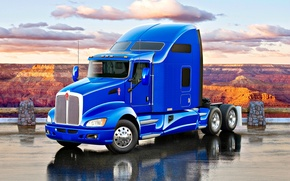 Picture road, Truck, canyon, blue, Truck, Tractor, Kenworth, Kenworth T660, American truck, T660