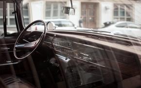 Picture car, panel, devices, the wheel, car, salon, retro, old