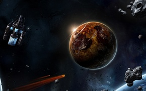 Picture planets, spaceships, asteroids, elemental