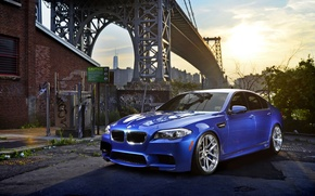 Picture car, bridge, BMW, five, bmw m5, hq Wallpapers