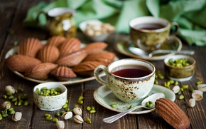 Picture tea, cookies, Cup, nuts, nuts, pistachios, spoon