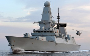 Picture sea, the sky, helicopter, Navy, destroyer, Royal, HMS Diamond, (D34)