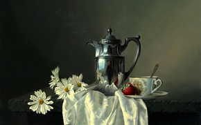 Picture flowers, coffee pot, picture, table, Alexei Antonov, reflection, metal, Cup, shawl, saucer, still life, chamomile, …