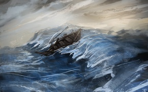 Picture sea, wave, the wreckage, storm, boat, figure