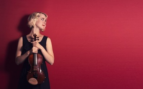 Picture girl, music, violin, Klara