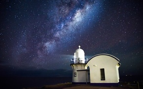 Picture sea, space, stars, lighthouse, The Milky Way, secrets