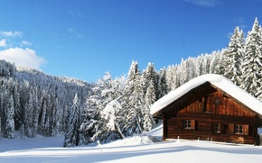 Picture winter, forest, the sky, clouds, snow, nature, relax, panorama, house, nature, widescreen, winter, snow, winter, …