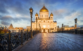 Wallpaper bridge, lights, Moscow, temple, Russia, Palace, The Cathedral Of Christ The Savior, The Patriarchal bridge