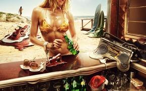 Picture beach, summer, girl, heat, booze, hot summer