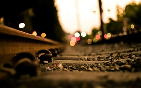 Picture the city, lights, the way, rails, railroad, bokeh