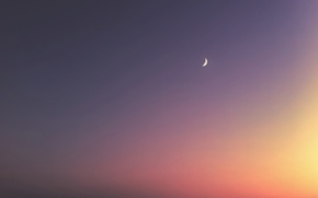 Picture the moon, The sky, minimalism, Crescent