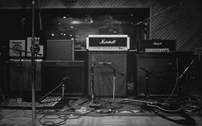 Wallpaper b/W, Wallpaper, equipment, music, the recorder, microphones, photo, Studio, speakers