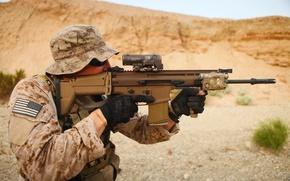 Picture gun, USA, United States, soldier, weapon, stars, man, flag, rifle, gloves, sunglasses, assault rifle, uniform, …