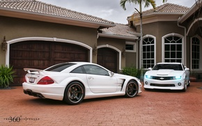 Picture white, house, Mercedes-Benz, Chevrolet, Mercedes, Camaro, Chevrolet, Camaro, 360, AMG, and, Muscle car, AMG, сл65, …
