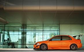 Picture car, machine, orange, tuning, office, Mitsubishi, tuning, lancer, evolution, orange, Mitsubishi, pirreli