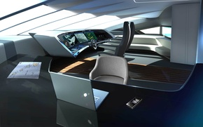 Picture design, style, interior, yacht, the wheel, Suite, yacht, cockpit, remote control, 40m Porsche, catamaran