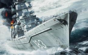 Picture sea, fire, ship, gun