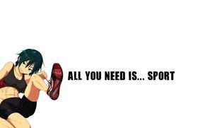Picture sport, minimalism, white background, sneakers, short hair, green eyes, press, sport bra, sports bra