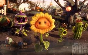 Picture war, sunflower, plants, cactus, zombies, pumpkin, zombies, invasion, pumpkin, plants, sunflower, cactus, Plants vs Zombies, …