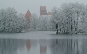 Picture snow, trees, lake, Winter, fortress