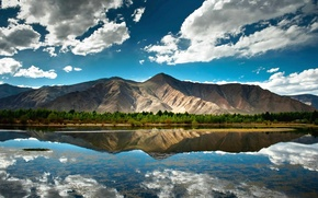 Picture clouds, nature, reflection, Mountain