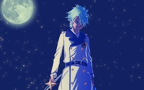 Picture night, the moon, sword, anime, zombie, guy, Bleach, the full moon, hitsugaya toshiro