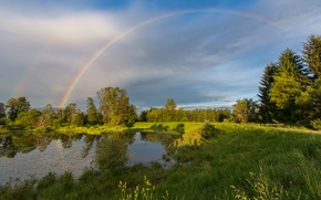 Picture field, trees, landscape, lake, rainbow