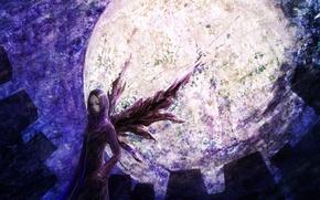 Picture night, home, wings, the full moon, Tokyo Ghoul, Bring Kirishima