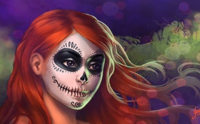 Picture girl, face, art, Halloween, coloring