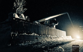 Picture roof, light, snow, style, tree, snowboard, the fence, tree, headlight, snowboard, Ryder, snowfall, the darkness, …