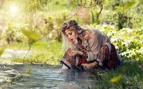 Picture summer, water, girl, decoration, nature, barefoot, blonde, barefoot, Alessandro Di Cicco