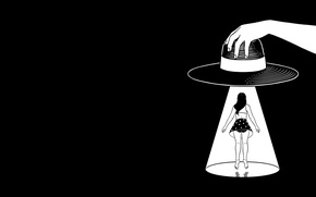Picture Girl, Minimalism, Humor, Hat, Art, Art, Black, White, Wallpaper, Minimalism, The Wallpapers, Henn Kim