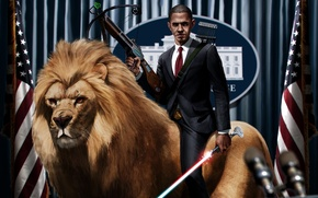 Picture Lion, Obama, Lightsaber, President, Crossbow