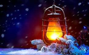 Picture flame, holiday, lamp, lantern, light, flame, Happy New Year, vintage, snow, Merry Christmas, lamp, lantern, …