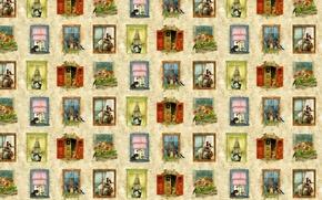 Picture flowers, house, mood, Windows, texture, art, kittens, children's