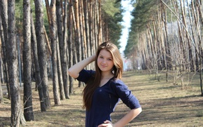 Picture forest, look, nature, pose, hair, modesty, Ludmila Panova