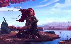 Picture the sky, leaves, water, girl, landscape, river, tree, hair, sword, red