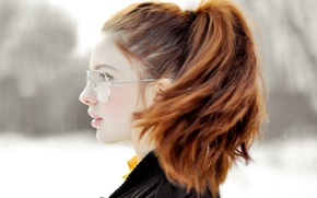 Picture girl, glasses, profile, Redhead, Ebba Zingmark