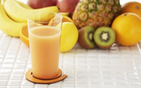 Picture glass, Apple, orange, food, kiwi, juice, fruit, pineapple, banana, natural