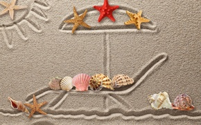 Wallpaper sand, figure, shell, texture, sand, drawing, starfish, seashells