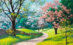 Wallpaper road, green grass, spring, painting, Arthur Saron Sarnoff, stone fence, Spring Blossoms, trees in bloom