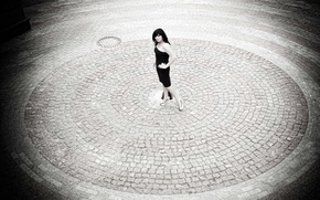 Picture girl, tile, round, brunette, area, shoes, legs, is, black and white, posing, dress