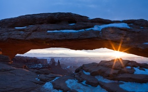 Wallpaper the sun, snow, rays, canyon