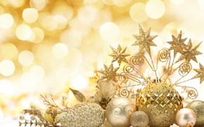 Wallpaper New Year, toys, New Year, Christmas, sequins, gold, patterns, stars, the scenery, balls, holidays, Christmas, ...