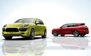 Picture Porsche, jeep, Porsche Cayenne, green car, red car
