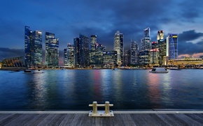 Picture clouds, night, lights, lights, skyscrapers, backlight, Bay, Singapore, architecture, megapolis, night, clouds, Singapore, blue sky, …