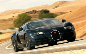 Picture road, auto, speed, Bugatti Veyron, the front, Super Sport, 16.4