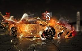 Picture Lamborghini, Gallardo, Fantasy, Fire, el Tony Cars